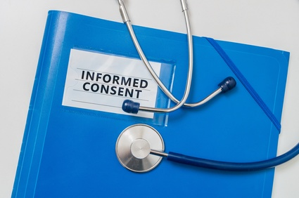 Blue folder with Informed Consent documents.